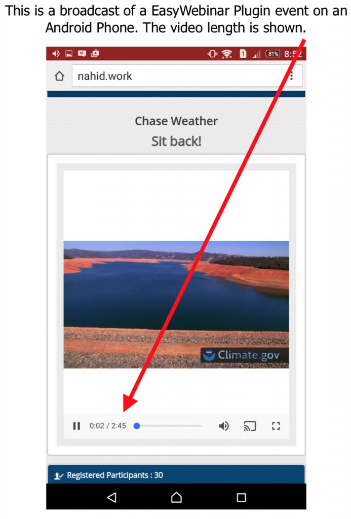 EasyWebinar Plugin Shows Video Length