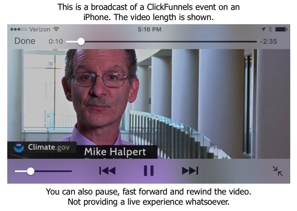 Clickfunnel automated webinar on iphone