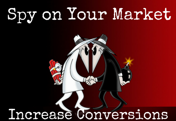 "Spy vs Spy wallpaper with caption: ""Spy on Your Market increase conversions"""