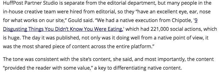 screenshot explanation of how huffington post writes advertorials