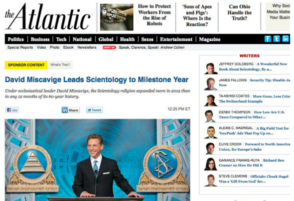 screenshot of the infamous scientologist advertorial on the Atlantic