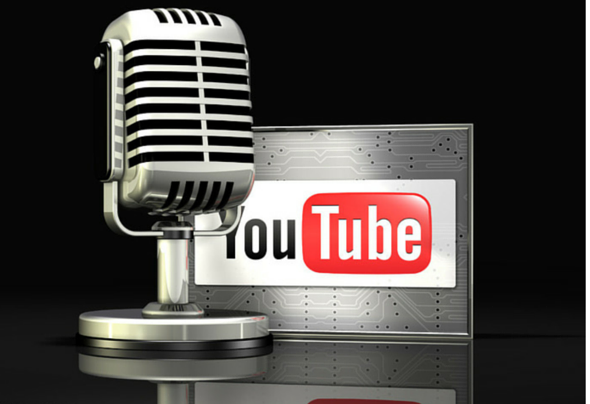 image of youtube logo and microphone