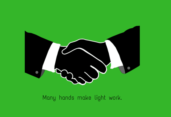 joint ventures hands shaking with text- many hands make light work