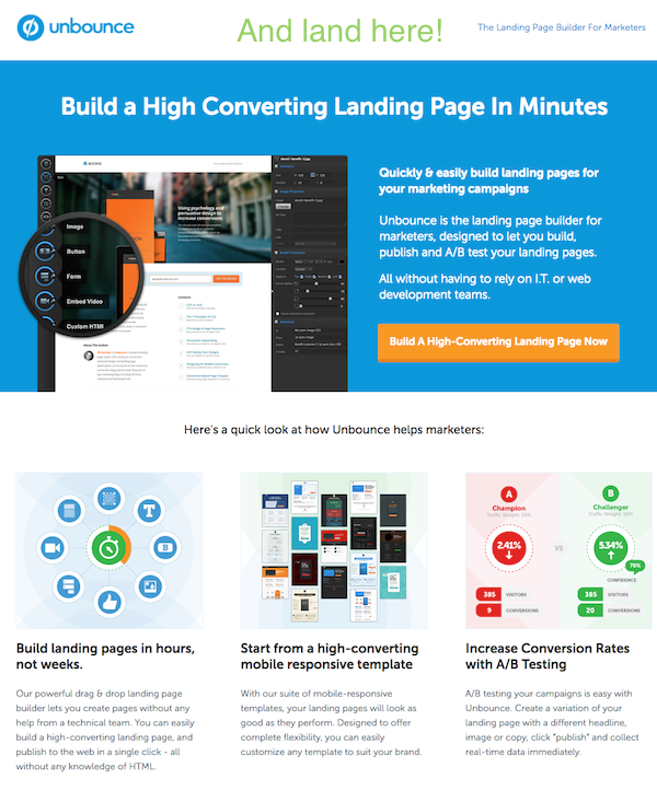 unbounce blog cta and landing page example