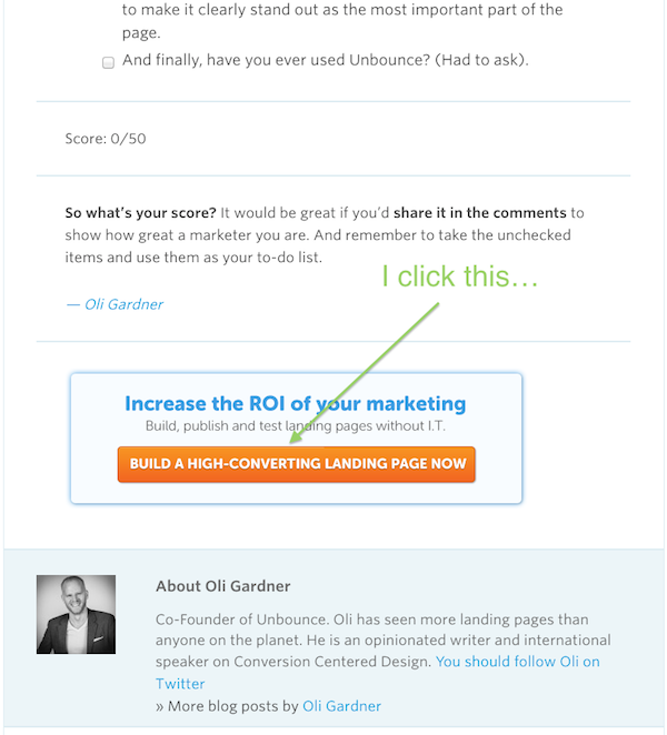 unbounce call to action example