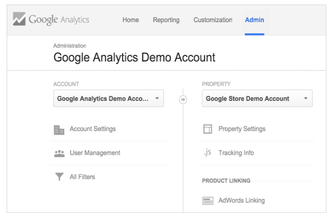 google analytics admin tab screenshot