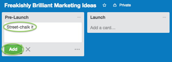 Screen Shot of trello campaign goals how to